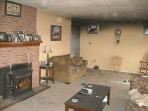 smoke damage living room