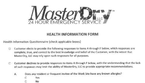 Water Damage Restoration Work Authorization Form Water